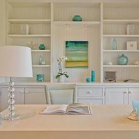 Carter & Company Interior Design - dens/libraries/offices - turquoise, blue, green, beachy, glass, stacked ball, lamp, white, built-ins, shelves, cabinets, desk, chair, blue, green, yellow, beachy, art, blue, glass, accents, vases, bottles,