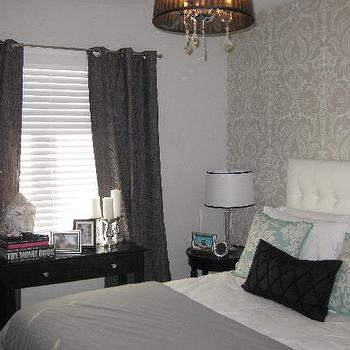 Wallpaper - bedrooms - grommet curtains, grommet drapes, gray grommet curtains, gray grommet drapes, damask wallpaper, gray damask wallpaper, wallpaper accent wall, bedroom accent wall, wallpapered accent wall,