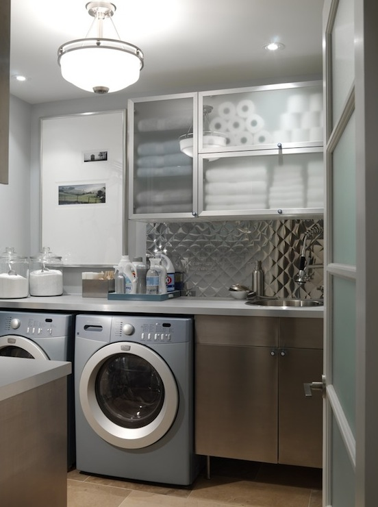 laundry/mud rooms - blue gray washer dryer shelves cabinets sink light fixture aluminum backsplash pendant frosted glass cabinets laundry room