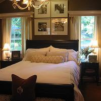 HGTV - bedrooms - chocolate brown walls, cornice box, chocolate brown bedroom, chocolate brown paint, chocolate brown paint colors, chocolate brown bed, art over headboard, beadboard, bedroom beadboard,