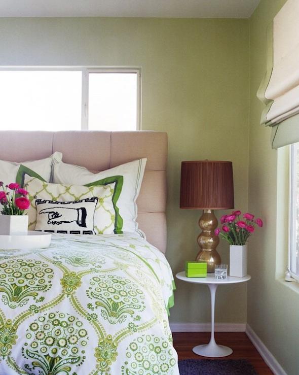 Bedrooms Green Bedding Tufted Beige Headboard Marble