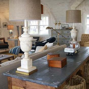Nate Berkus Design - living rooms - vintage lamps, vintage table lamps, alabaster lamps, alabaster table lamps, vintage alabaster lamps, zinc top table, zinc topped table, zinc top console table, sofa table, linen lamp shades,
