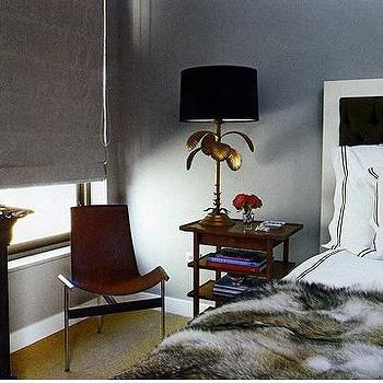 Nate Berkus Design - bedrooms - lotus lamp, lotus flower lamp, brass lotus lamp, brass lotus flower lamp, faux fur throw,  Gray walls paint color,