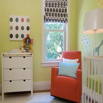 Samantha Pynn - nurseries - nursery, nursery paint colors, green paint colors, green nursery paint colors, white floor lamp, red glider, red nursery glider, red rocker, red nursery rocker,