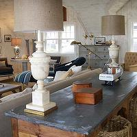 Nate Berkus Design - living rooms - alabaster, lamps, rustic, console, table, baskets, bergere, chairs, vintage lamps, vintage table lamps, alabaster lamps, alabaster table lamps, vintage alabaster lamps,