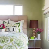 Erinn V Design Group - bedrooms: green, bedding, tufted, beige, headboard, marble, saarinen, table, gold, gourd, lamp, green, walls, white, roman shade, green, trim,