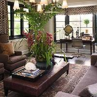 Brown Design - living rooms - taupe, chairs, leather, ottoman, bench, brown ottoman, leather ottoman, ottoman coffee table, brown ottoman coffee table, leather ottoman coffee table, brown leather ottoman, brown leather ottoman coffee table, brown leather bench, Imperial Trellis Fabric, Ventena 3 Tier Chandelier,