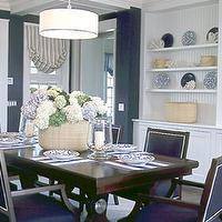 Southern Living - dining rooms - dining room, navy, blue, dining, chairs, drum, pendant, light, built0ins, cabinets, shelves,  Drum pendant chandelier,