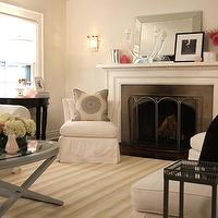Samantha Pynn - living rooms - striped, beige, rug, fireplace, blue, gray, folding, coffee, table, slipcovered, white, slipper, chairs, pillows, mirror, gray, walls, gray coffee table, gray wood coffee table, grey coffee table,