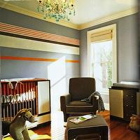nurseries - horizontal wall stripes, chocolate brown glider, crib, striped nursery, striped nursery walls,  Guy Barbarulo  boy's nursery thanks
