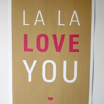 Etsy :: SparklePower :: La La Love You Poster, Brown and Magenta
