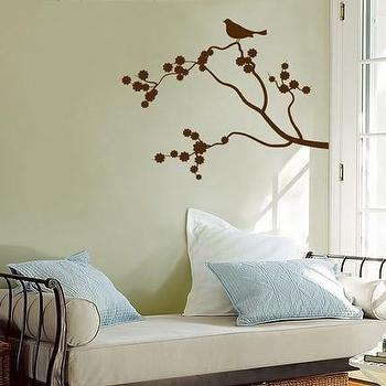 Art/Wall Decor - Etsy :: DaliDecals :: One Little Birdie Sitting in a Cherry Blossom Tree - Vinyl Wall Decals - Your Choice of Color - - wall, decal, bird, branch