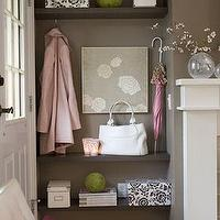 entrances/foyers - floating shelves, pink accents, ivory, stone, fireplace, white, photo, boxes, gray, art, entrance, foyer, entry, taupe brown gray walls, taupe paint, taupe paint colors, taupe paint color, taupe walls,