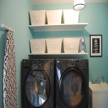 laundry/mud rooms - keep calm and carry on, tiffany blue room, tiffany blue laundry room, tiffany blue walls, tiffany blue paint, tiffany blue paint color, tiffany blue wall paint, laundry room paint, laundry room paint color, laundry room paint colors, damask laundry board cover, laundry board cover, jcp roman shade, laundry sorter, target laundry sorter, black washer and dryer, washer and dryer on platform, laundry room shelves, laundry room shelving, laundry room bins, Open Canvis Bin, Ebay Damask Ironing Board Cover,