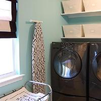 laundry/mud rooms - suzie, washing machine, dryer, baskets, shelves, hamper, tea towel, tiffany blue room, tiffany blue laundry room, tiffany blue walls, tiffany blue paint, tiffany blue paint color, tiffany blue wall paint, Ebay Damask Ironing Board Cover, JCP Roman Shade, Neu Home 3-Section Laundry Sorter, Open canvas Bins,