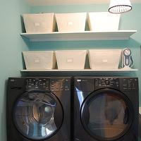 laundry/mud rooms - suzie, washing machine, dryer, baskets, shelves, pendant light, keep calm and carry on, tiffany blue room, tiffany blue laundry room, tiffany blue walls, tiffany blue paint, tiffany blue paint color, tiffany blue wall paint, laundry room paint, laundry room paint color, laundry room paint colors, Open Canvis Bin, Ebay Damask Ironing Board Cover,