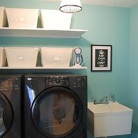 laundry/mud rooms - suzie, washing machine, dryer, baskets, shelves, pendant light, keep calm and carry on, tiffany blue room, tiffany blue laundry room, tiffany blue walls, tiffany blue paint, tiffany blue paint color, tiffany blue wall paint, Open Canvas Bins, Pottery Barn Beaded Pendant,