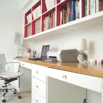Teresa Meyer Interiors - dens/libraries/offices - built in desks, built in desks, shelves over desk, shelves above desk, shelving over desk, shelving above desk, painted back of bookshelf, target desk chair, Target Media Office Chair,