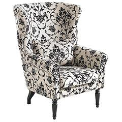 Seating - pier 1 wing chiar - Pier 1, Wingback chair, black, white, damask, paisley