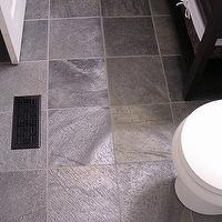 Freckles Chick - bathrooms - gray walls, Costco marble top and espresso vanity, honed slate tiles, gray slate tile, gray slate tile floor, gray slate bathroom floor, slate bathroom floor, , Honed Slate Tiles,