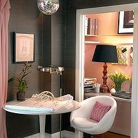 dens/libraries/offices - closet office, office in closet, closet desk, desk in closet, closet work space, work space in closet, closet converted into office, converted closet office, converted office closet, closet transformed into office, closet turned office, pink and gray office, gray grasscloth, gray grasscloth wallpaper, disco ball,