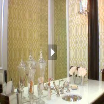 House & Home - bathrooms - imperial trellis wallpaper, citrine imperial trellis wallpaper, hammered sink, Citrine Imperial Trellis Wallpaper, Hammered Metal Sink,