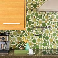 kitchens - contemporary backsplash, contemporary kitchen backsplash, green tiles, green kitchen backsplash,  BHG  Awesome round tile backsplash