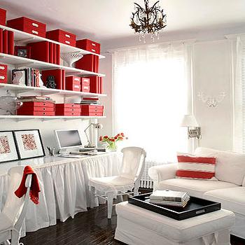 Sissy and Marley - dens/libraries/offices - built in desk, built-in desks, white built in desk, skirted desks, ruffled skirted desks, white skirted desk, red accents, red room accents, white and red office,