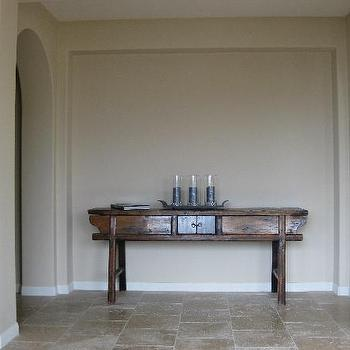 entrances/foyers - console table, foyer table, foyer console table, foyer,  console table in hallway  stone, tiles, floors