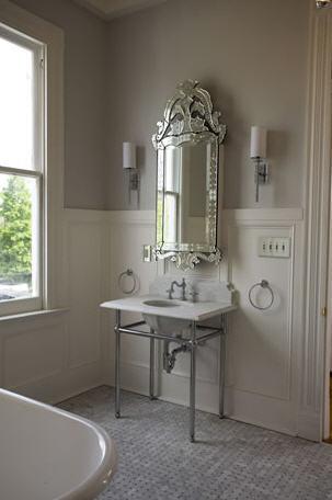 Venetian Mirror Medicine Cabinet Transitional Bathroom
