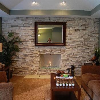 living rooms - stonewall, stone accent wall, stone living room, stone living room ideas, stone fireplace wall, stone fireplace,  Awesome gas
