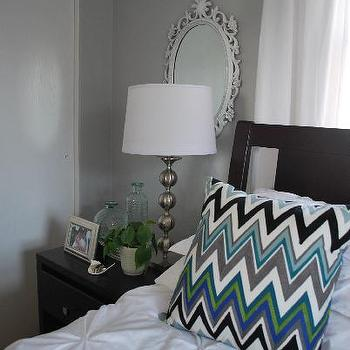 Nuestra Vida Dulce - bedrooms - gray, walls, gray walls, gray paint, gray paint colors, stonington gray, chevron pillows, bed in front of window, Target Zigzag Chevron Pillow, Pintuck Duvet & Shams,