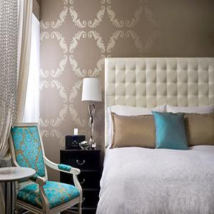Turquoise Damask Chair, Contemporary, bedroom