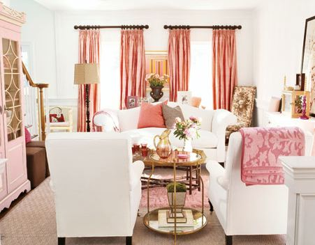 living rooms - white chairs pink accents pink silk drapes brass table pink gray pillows pink secretary cabinet pink damask throw  so spring