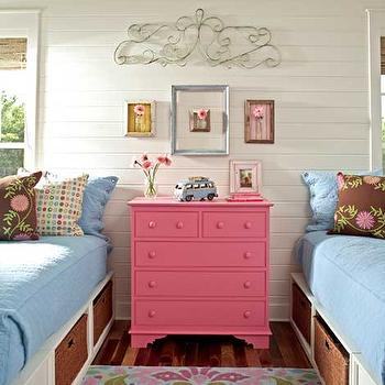 girl's rooms - pink chest, pink chest of drawers, twin storage beds, twin beds with storage,  Pink Dresser  twin beds, storage, baskets,pink