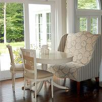 Windsor Smith Home - dining rooms - wing chair, breakfast room, settee, wingback settee, patterned settee, patterned wingback settee, banquette settee, banquette wingback settee,