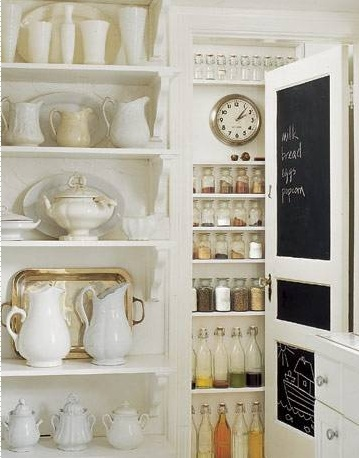 kitchens - pantry white shelf shelves pitchers black chalkboard paint door  pantry  Love this pantry, so organized! Chalkboard painted pantry