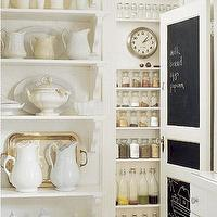 kitchens - pantry, white, shelf, shelves, pitchers, black, chalkboard, paint, door, chalkboard wall, kitchen chalkboard wall, chalkboard, kitchen chalkboard, kitchen chalkboard ideas, chalkboard kitchen, chalkboard in kitchen, chalkboard message board, kitchen chalkboard message board, chalkboard door, chalkboard pantry door, pantry chalkboard door,