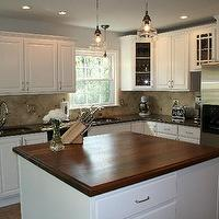 kitchens - white kitchen walnut slab, Walnut Block,  updated kitchen  cabinets are SW creamy and walls are BM pale oak (thanks Teresa!). My husband