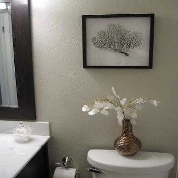 Freckles Chick - bathrooms - framed seafan shadow box bronze vase silver dollar sprays marble vanity, revere pewter, DIY Seafan Art,  Bathroom