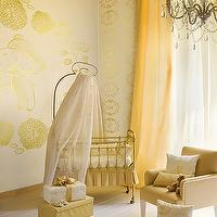 nurseries - shade of yellow and gold, wallpaper, crown molding, canopy crib, chandelier, whimsical nursery, crib canopy,  Sweet gold nursery