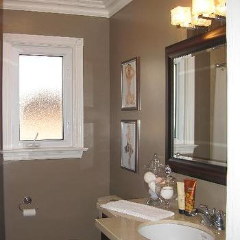 Taupe Bathroom, Contemporary, bathroom, Wallpaper