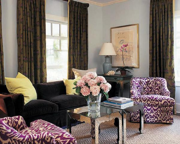 Black and purple living room contemporary living room for Dark purple living room ideas