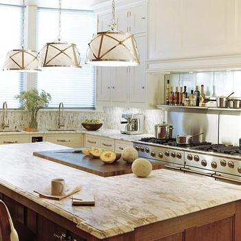 kitchens - grosvenor 3 light pendant, two tone kitchen white perimeter cabinets, cooktop backsplash, stainless steel cooktop backsplash, Grosvenor 3 Light Downlight,