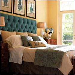 bedrooms - Tufted, upholstered, headboard, peacock blue, teal blue, teal headboard, tufted headboard, teal tufted headboard,  Inspiration photo