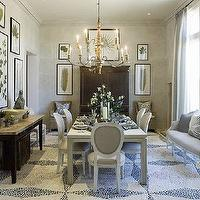 James Michael Howard - dining rooms - white, blue, mosaic, floor, tiles, gray, dining table, gray, french, dining chairs, chandelier, fern, art, botanical, art, gallery, blue, throw pillows, modern, French, Country, brown, wood, cabinet, armoire, marble, top, console, table, gray walls, paint color,