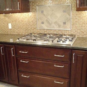 kitchens - cherry cabinets, cherry kitchen cabinets, granite countertops, glass tiles, glass tile backsplash, peacock green granite, peacock green granite counters, peacock green granite countertops,