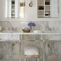 Phoebe Howard - bathrooms - double marble washstand, marble double washstand, inset medicine cabinet, bathroom stool, vanity stool,  Elegant