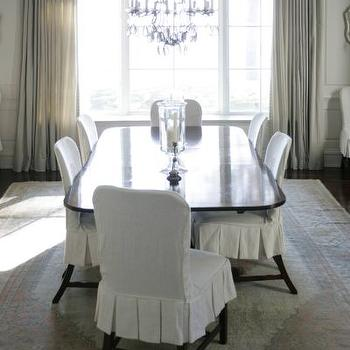 Slipcovered Dining Chairs, Transitional, dining room, Phoebe Howard