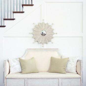 Phoebe Howard - entrances/foyers - distressed bench, foyer bench,  White sunburst mirror and bench